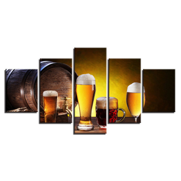 5 Pcs Combinations HD Beer Glasses Gastronomic Elements Framed Canvas Painting Wall Decoration Printed Oil Painting poster
