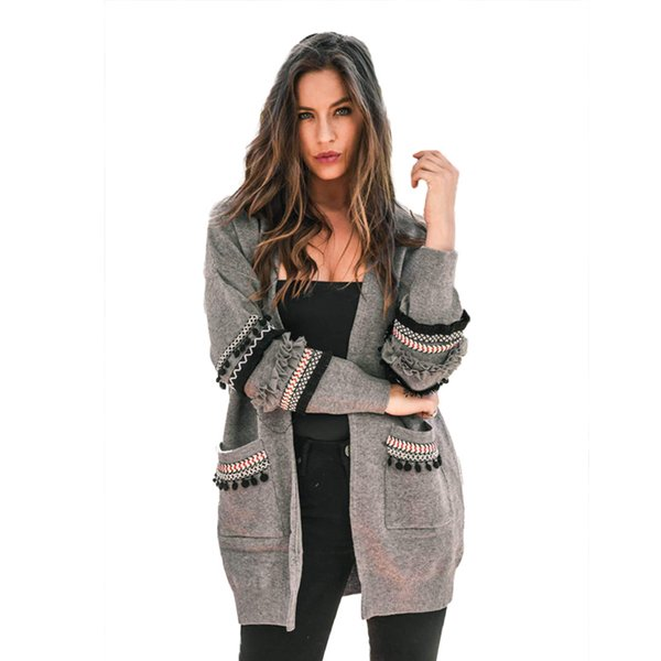 Patchwork Long Sleeve Pockets Long Cardigan Women Plus Size 2018 Autumn Winter Oversized Knitted Sweater Female Jumper S19802