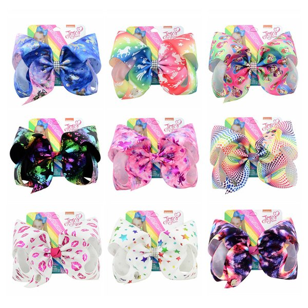 Big Hot Stamping Baby Girls Bow Unicorn Headclips Safety Diamond Hair Clips Pins Kids Headwear Photo Hair Accessories 20CM