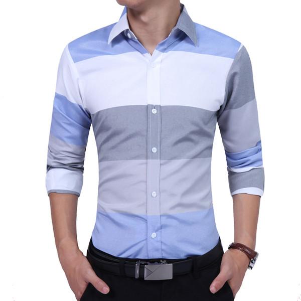 Brand 2019 Fashion Male Shirt Long-sleeves High Quality Hit Color Stripes Casual Shirt Mens Dress Shirts Slim Men Shirt Xxl