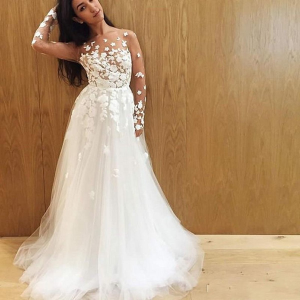 Spring Beach Wedding Dresses Round Neck Illusion Long Sleeves Wedding Dress with Sheer Neckline Appliques Lace Boho Bridal Gowns Cheap