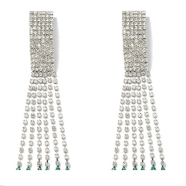 Nueva moda barroco Retro verde cristales pendientes Rhinestone gota de agua cuelga los pendientes de gota Eardrop para mujeres joyería