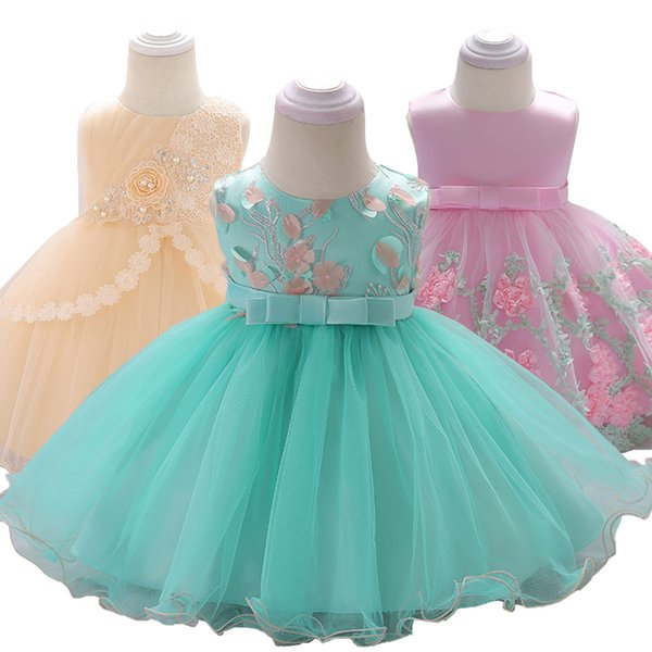 2019 Summer Baptism Frock Newborn 3 6 9 12 24 Months Christening Dress For Baby Girl Dresses Party Wedding First Birthday Dress Y19061101