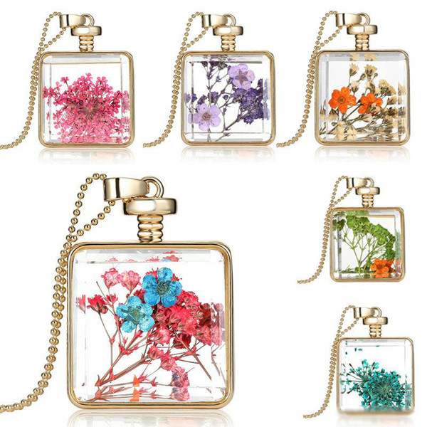 Natural Real Dried flowers necklaces original Square glass bottle Pendant Gold statement beaded chains For women Fashion DIY Jewelry Gift
