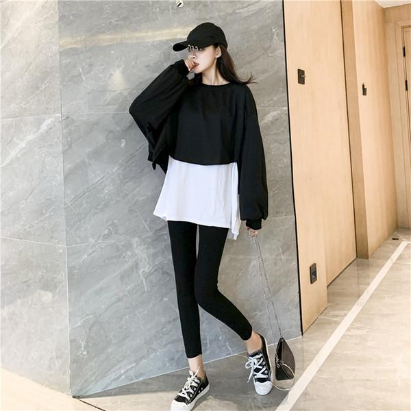 Toptan Hoodie + Pant Kadınlar Hoodie Kadınlar Kazak Kadınlar Sıkı Pantolon Sahte İki adet adet Sıkı Pantolon Moda Siyah Gri B100601