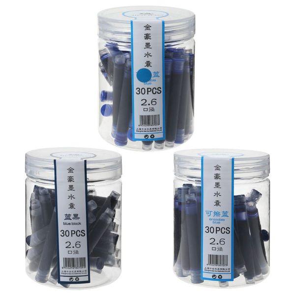 30 stücke Jinhao Universal Schwarz Blau Füllfederhalter Tintenpatronen 2,6mm Minen Schule Büromaterial