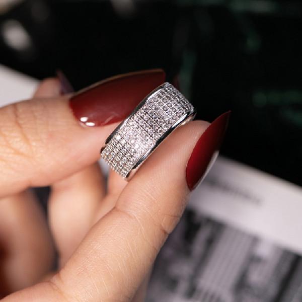 Lüks Paragraf 925 Ayar Gümüş Yüzük Parmak Damga 10KT Shining 286 adet Kadın için Tam Simüle Elmas Yüzükler takı