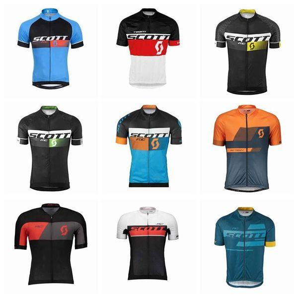 Scott Team Bisiklet Kısa Kollu Jersey Yeni Erkekler Yaz Hızlı Kuru Nefes Sıkıştırılmış Bisiklet Jersey Pratik 91934x