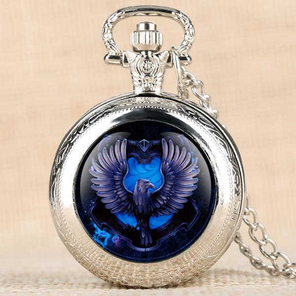 Retro Quartz Pocket Watch Bule Eagle Pattern Pocket Watches Creative Decorations Necklace Chain Pendant Clock for Men Women