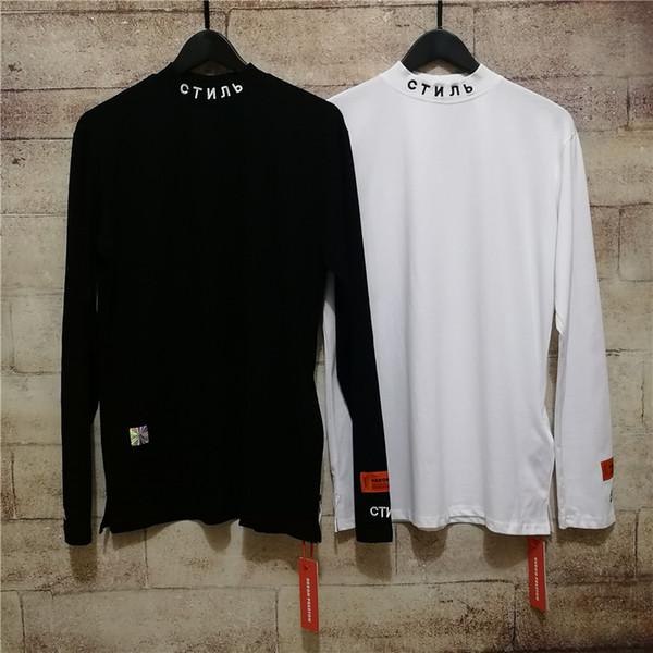 2019 HERON PRESTON Nakış Kadın Erkek Balıkçı Yaka Uzun Kollu T gömlek tees Hiphop Streetwear Erkekler Pamuk T gömlek HP T gömlek S-XL
