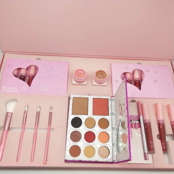 top popular IN stock!!New Christmas Edition Makeup set Eyeshadow palette Lipsticks Lip gloss Brush Full big set Gift box DHL shipping 2021
