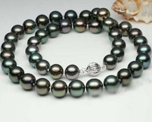 """Natural 9-10mm real black cultured pearl necklace 17 """", wholesale price for women factory for women silver gift-mother jewelry"""
