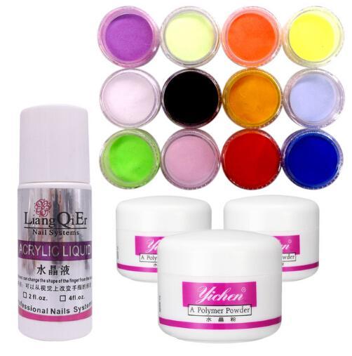 3 colors Nail Acrylic Powder pink clear white + 75ml Acrylic Liquid Tips Set acrylic nail Kit