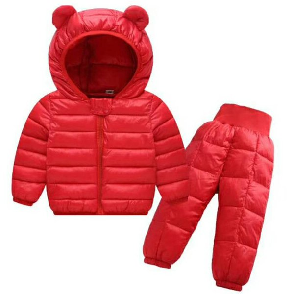 Unisex Baby Winter Fashion Clothing Sets Kids Girls Boys Warm Cute Down Coat Jackets + Pant 2PCS Snowsuits Children Clothing