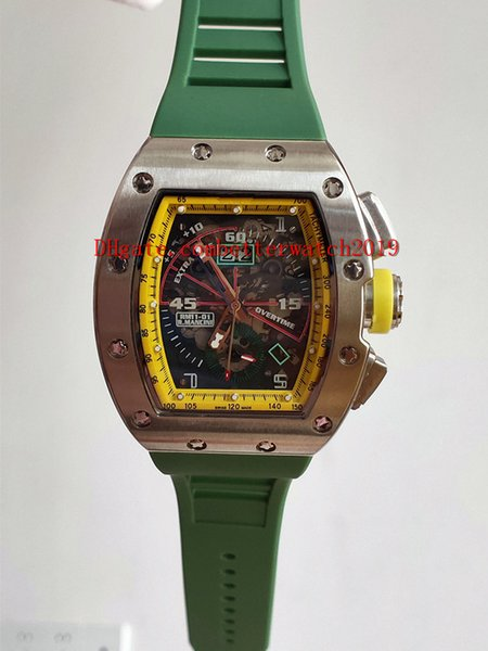 Luxry New RM11-01 Big Date Skeleton Dial Miyota Automatic RM 11-03 Mens Watch 50mm*42.7mm green Carbon fiber Case Green Rubber Strap Sport