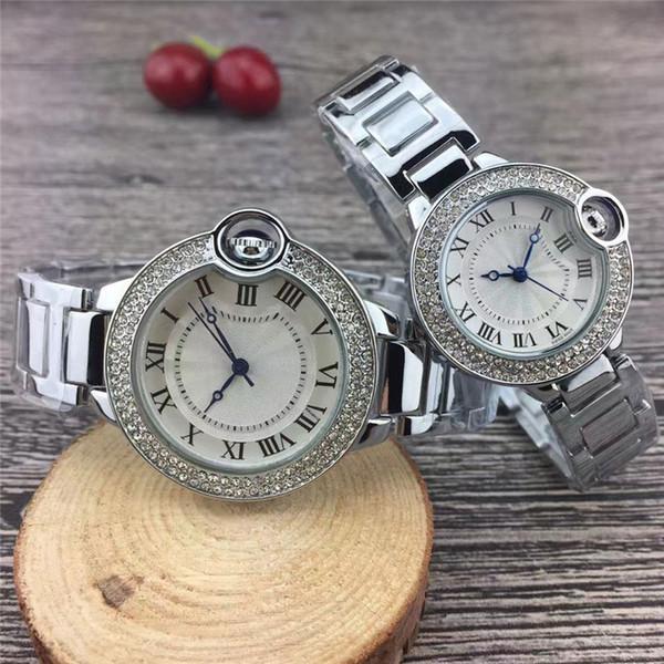 Novo casal de luxo assistir mulheres mens relógios top marca dress ouro full aço inoxidável diamante relógios de pulso de quartzo para homens senhoras melhor presente
