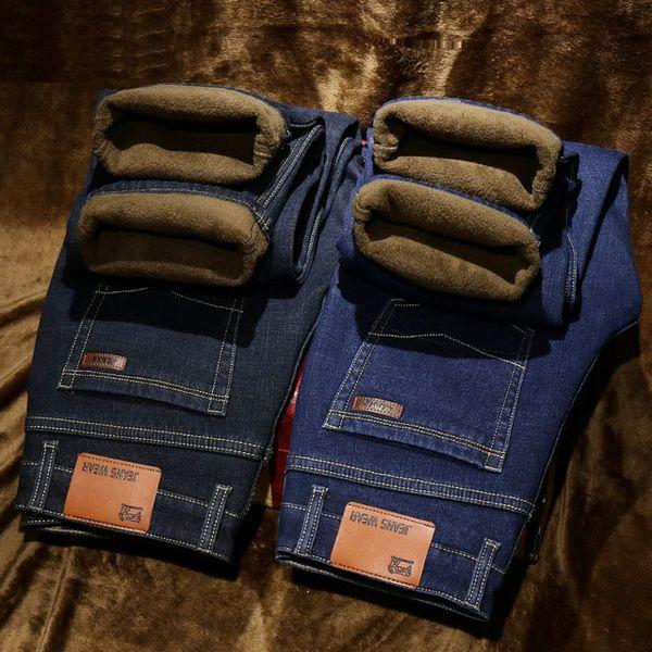 Winter Thermal Warm Flannel Stretch Jeans hombre invierno calidad Famous Fleece Pants hombres flocado recto pantalones jean hombre