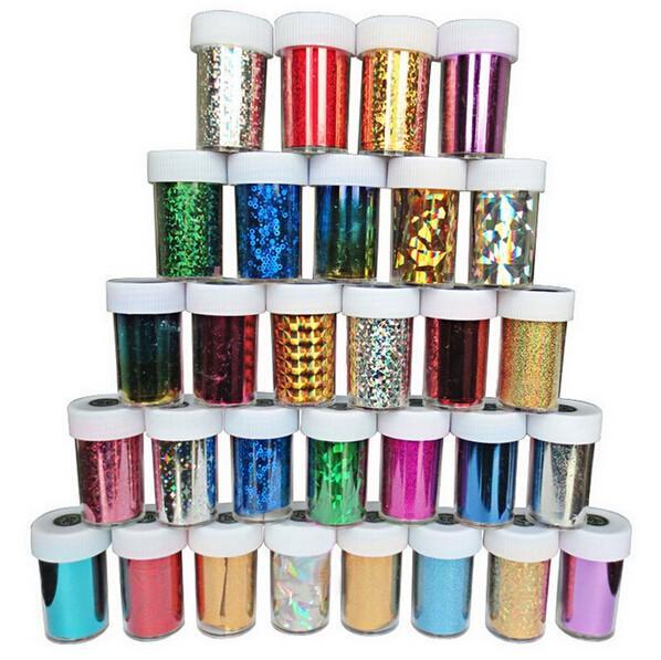 10 рулонов / лот фольги для переноса ногтей DIY фольга лак для ногтей наклейки для красоты золото-серебристый инструмент для укладки 46 цветов, 120 * 4 / рулон