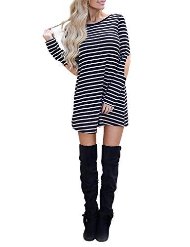 Blooming Jelly Women's Striped Dress Long Sleeve Elbow Patches Swing Mini Dress