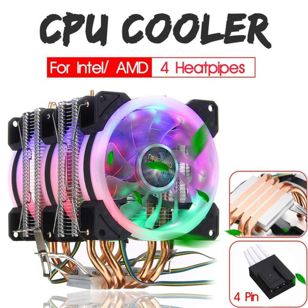 6 Heatpipe CPU Cooler Dual Tower with RGB 4pin CPU Cooling Fan Heatsink for Intel 775/1150/1151/1155/1156/1366 for AMD Socket