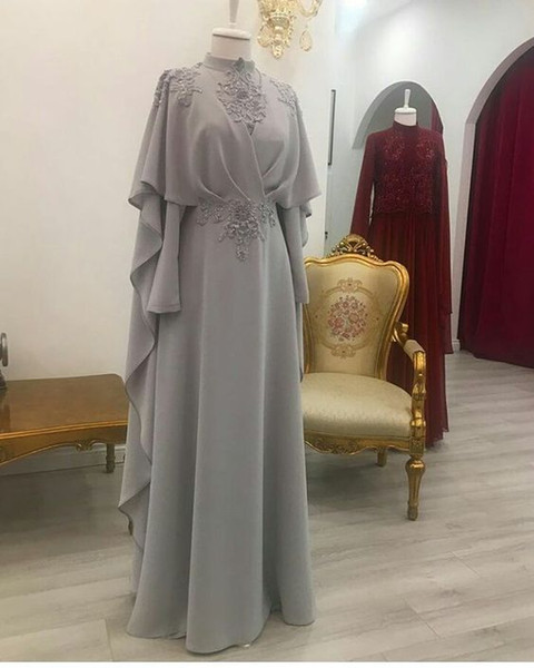 Elegant Saudi Arabia Silver Evening Dresses High Neck Appliques Chiffon Long Party Dress For Women Wear Large Size Muslim Prom Dresses Cheap