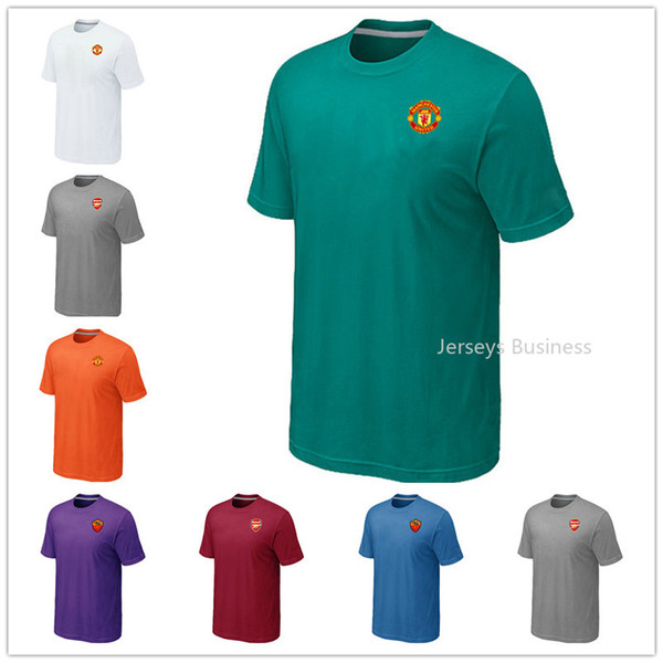 Hot Sale MAN UTD Green Textured Solid Performance Mens Black Shirt Casual Red T Shirt Clothing Dark Blue Man Summer Outdoor Clothes
