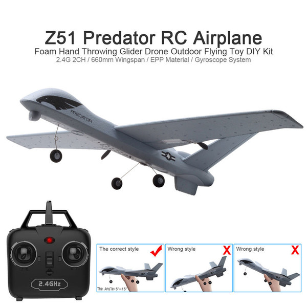 top popular RC Airplane Plane Z51 with 2MP HD Camera or No Camera 20 Minutes Fligt Time Gliders With LED Hand Throwing Wingspan Foam Plane 2021