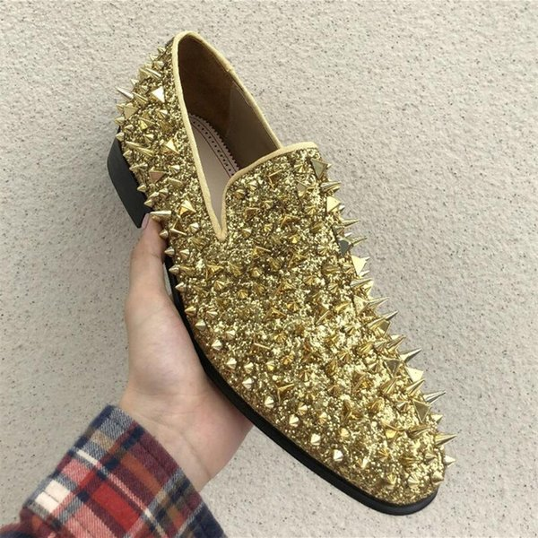 New Men Shinny Glitter Flats Shoes Black Sliver Gold Spiked Mens Loafers Slip On Rivets Men Prom Party Wedding Shoes Oxford Shoes Tennis Shoes From