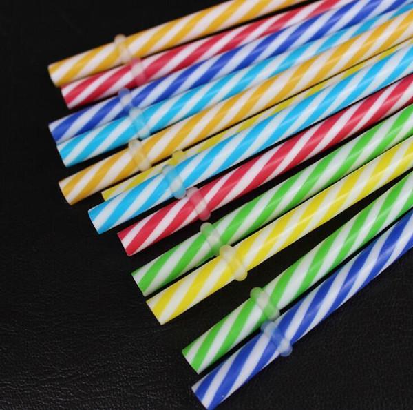 Wholesale-10Pcs / Set Cannucce riutilizzabili biodegradabili a colori deformati Bande di plastica rigida Bere cannucce per feste colorate