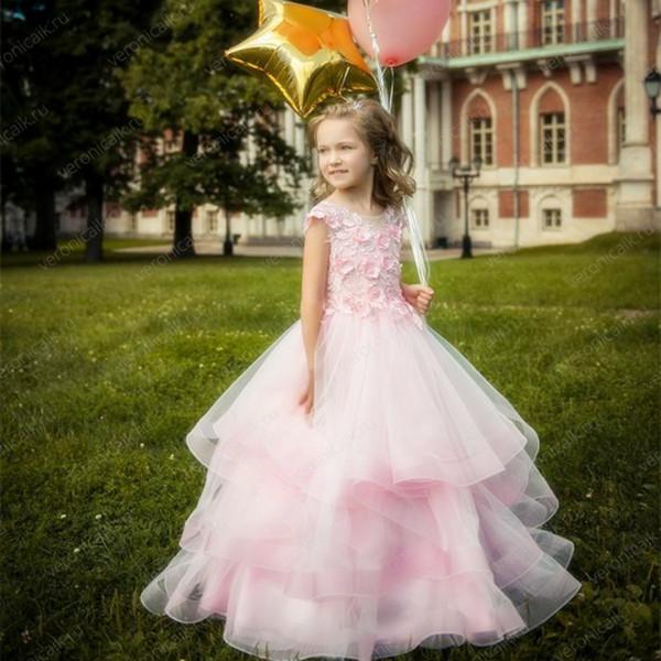 Compre 2019 Vestidos De Flores Niña Dulce De Color Rosa Para La Boda La Graduación De Los Niños Comunión Desfile Floral Para Niñas Vestidos Cg01 A