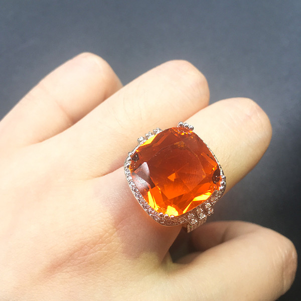 Hot Sale Luxury Exaggerated Orange Zircon Ring for Women Fashion Geometric Square Stone Ring Party Jewelry US Size 6-10 anillos