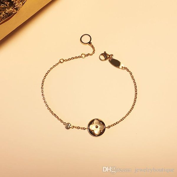 Top brand name 316L stainless steel charm bracelet chain with white shell in round and rhombus shape pendant bracelet rose gold plated Brand