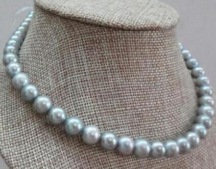 Free Shipping >>>> Hot Sale Natural 8-9mm freshwater gray silver pearl necklace 14k solid closure
