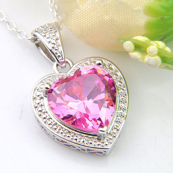 12*12 mm Luckyshine 10 Pieces 1Lot Europe popular Jewelry Woman Heart Pink Kunzite Gemstone 925 Silver Pendant Necklaces Jewelry