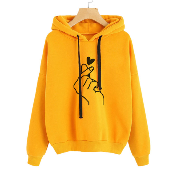 korean style women sweatshirt hoodies hooded polerones mujer pullovers hoody 2019 fashion tops women clothes LOVE gesture d90521