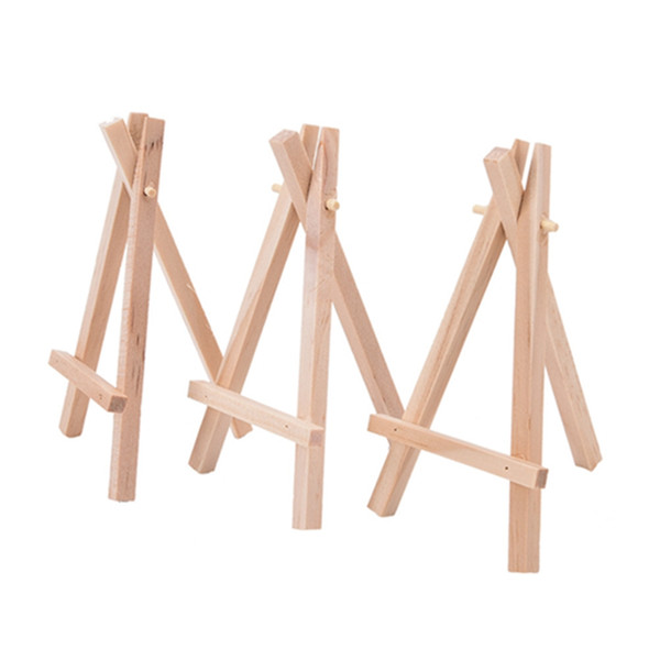 best selling 8x15cm Natural Wooden Mini Tripod Easel Mini Display Stand for Wedding Place Name Holder Menu Board