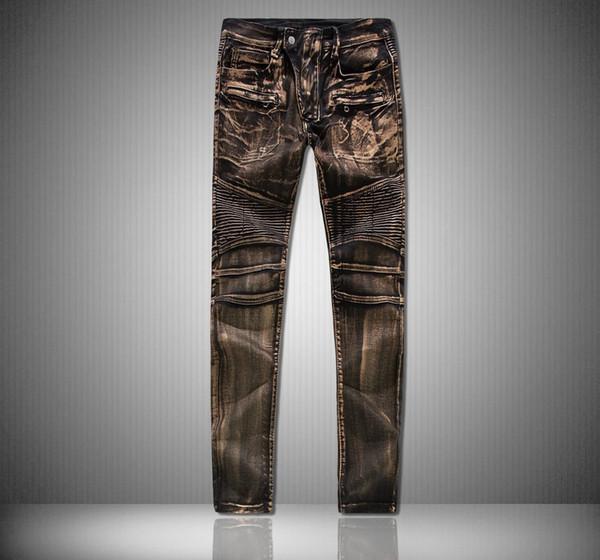 Hip nuevos pantalones vaqueros de los hombres del diseño de marca Denim Vaqueros ajustados Hombres hop de moda jeans para hombres Pantalones de oro de marea Freeshipping