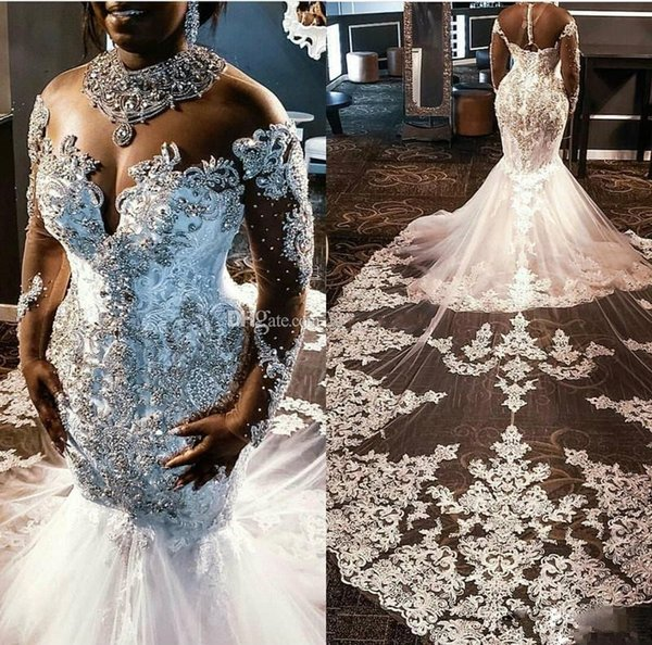 Crystal Beaded African Mermaid Wedding Dresses with Illusion Long Sleeve 2020 Sheer High Neck Cathedral Train Princess Wedding Gown