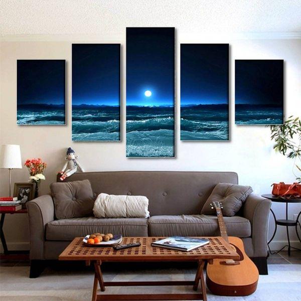 5 pz / set Unframed Moon and Sea Blue Wave Pittura A Olio Su Tela Wall Art Pittura Picture Art Per La Casa e Living Room Decor