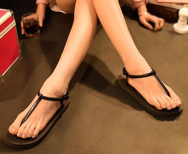 New Hot Women Summer Fashion Lady Flat-Bottomed Pinch Beach Slippers EVA Flip Flops Anti Skidding Gifts