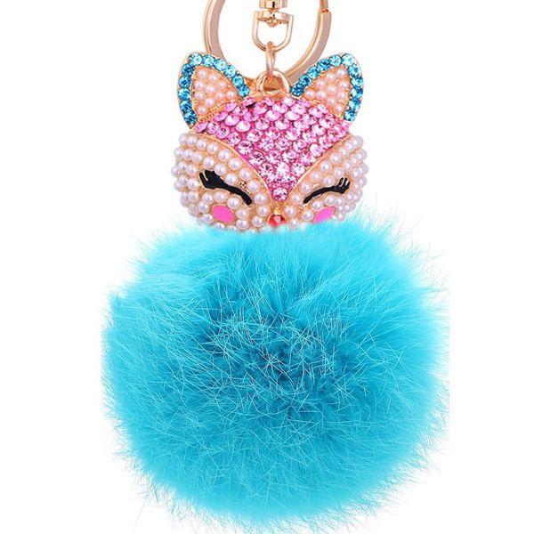 Genuine Teal Blue Crystal Fox Fluffy Faux Fur Pom Pom Keychain Bag Charm Red Bling Pearl Keyrings Super Cute Violet Key Chain