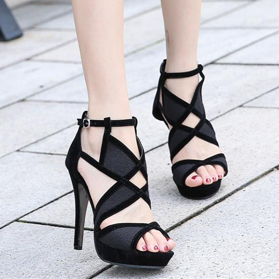 luxury gladiator sandals women high heels plus size 34 to 40 41 42 sexy black hollow out shoes