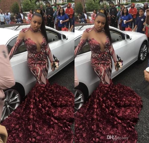 Manga larga sudafricana Vestidos de baile 2K19 Cuello alto Sheer escote Vestido de noche de sirena Tren rosa Apliques Vestidos de fiesta de talla grande