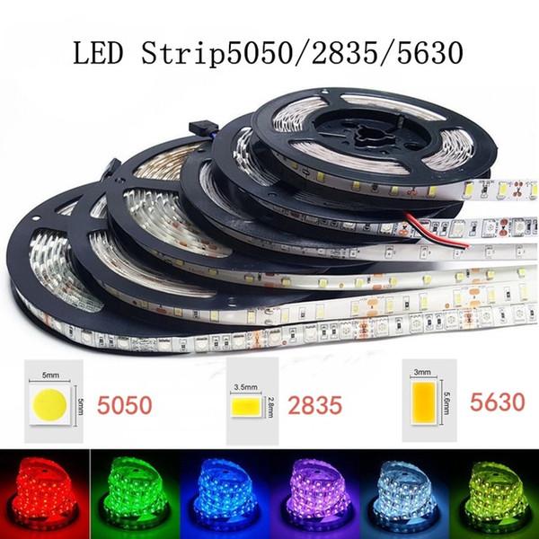 High Birght 5M 5050 3528 5630 strisce led luce caldo bianco puro rosso verde RGB flessibile 5 m rotolo 300 LED 12V esterno nastro