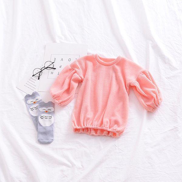 Baby Girl Kids Suéteres, camiseta con mangas abullonadas Blusa de color sólido cálido Ropa para 1-6 años (120 cm / 5-6T, gris)