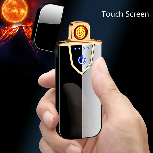 Promotion New USB Charging Lighter Small Metal Rechargeable Cigarette Lighters Double-sided Ignition Thin Electric Lighter Gift
