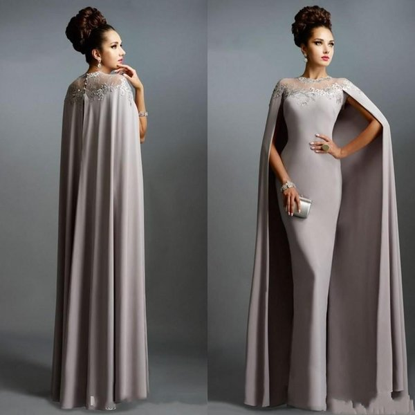 Brown Cheap Long With Cape Lace Mother of the Bride Dresses Formal Party Plus Size Prom Gowns For Wedding Bride Guest Dress