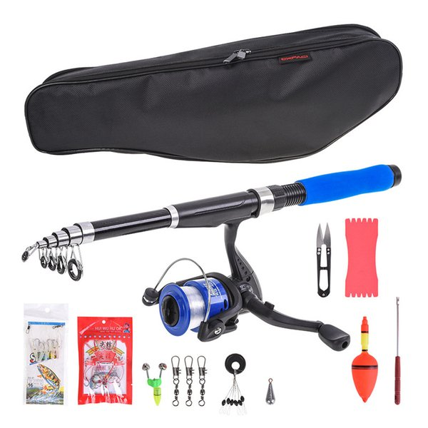 Fishing Rod Reel Combo Full Kits Spinning Pole Set With Lure Swivel Set Bag 2.1m
