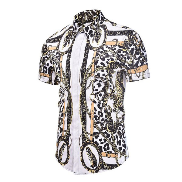 Summer authentic Male New Pattern Short Sleeve Men's Wear Clothes Man Style Shirt