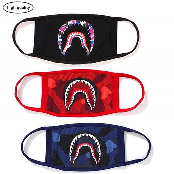 Masque de requin, masque de coton drôle masque anti-poussière, ski de randonnée à vélo camping demi visage masques pour les garçons et les filles
